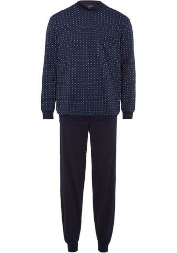 Schiesser Pyjama, lang, dezent gemustert mit aufgesetzter Brusttasche