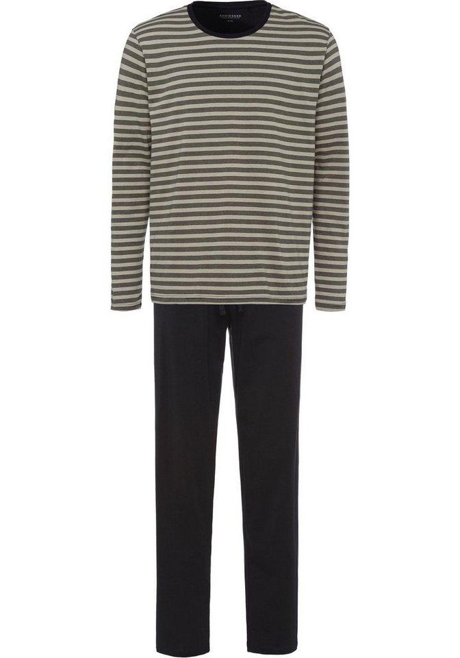 d45559c60c950c Schiesser Pyjama, lang mit Streifen-Oberteil | OTTO