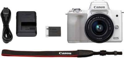Canon »EOS-M50 EF-M15-45 Kit« Systemkamera (EF-M 15-45, 24,1 MP, NFC, WLAN (Wi-Fi), Bluetooth, + Rucksack CB-BP100 + 32GB SD Class 10 + 10 € FGS)