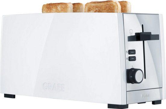 Graef Toaster TO 101, weiß-matt, 2 lange Schlitze, für 4 Scheiben, 1380 W