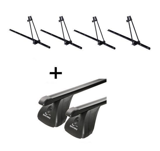 VDP Fahrradträger, 4x Fahrradträger ORION + Dachträger Original Stahl kompatibel mit Skoda Fabia II 5 Türer 2007-2014