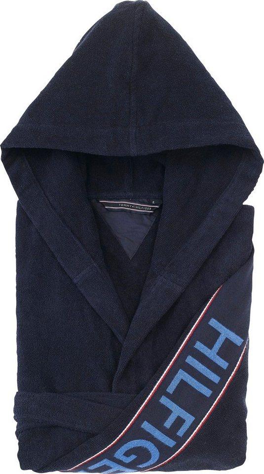 Herren Herrenbademantel Hilfiger Iconic  TOMMY HILFIGER mit großem HILFIGER Schriftzug blau | 03048248801437