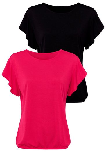 LASCANA T-Shirt (2er-Pack) mit kurzen Volantärmelchen