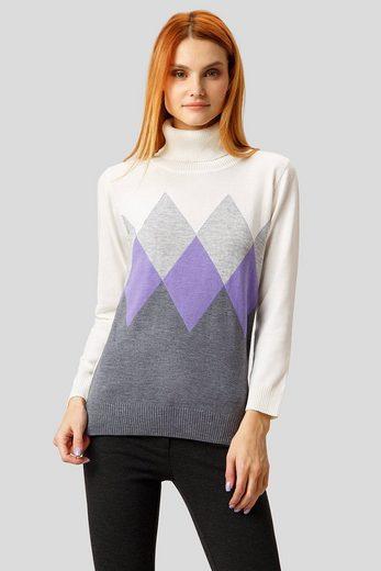 Finn Flare Pullover in modischem Rauten-Design