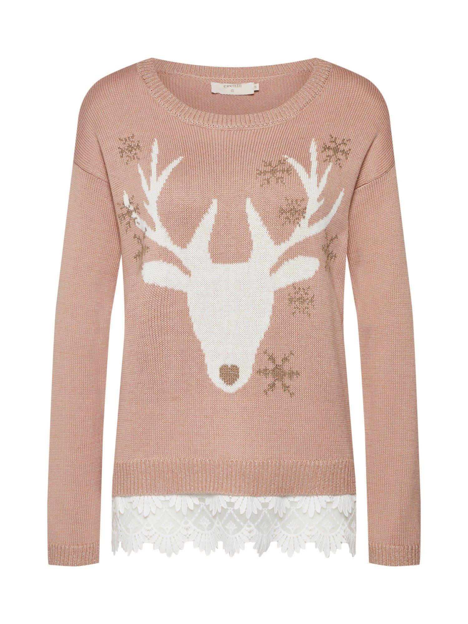 Cream Rundhalspullover »Reindeer« Spitze
