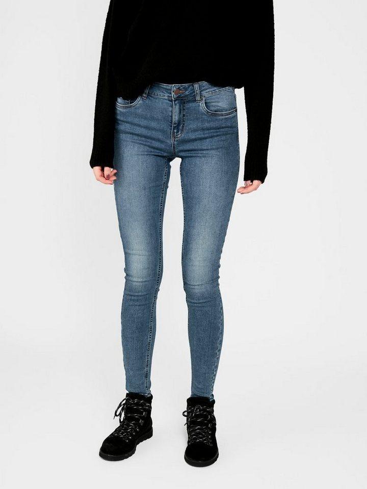 Damen Pieces Mid Waist Skinny Jeans blau   05713746209365