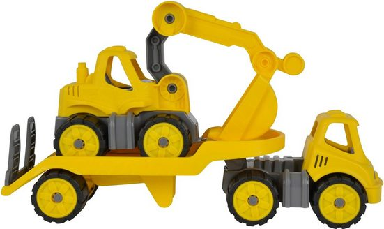BIG Spielzeug-Baumaschine »BIG Power Worker Mini Transporter und Bagger gelb«, (Set, 2-tlg), Made in Germany