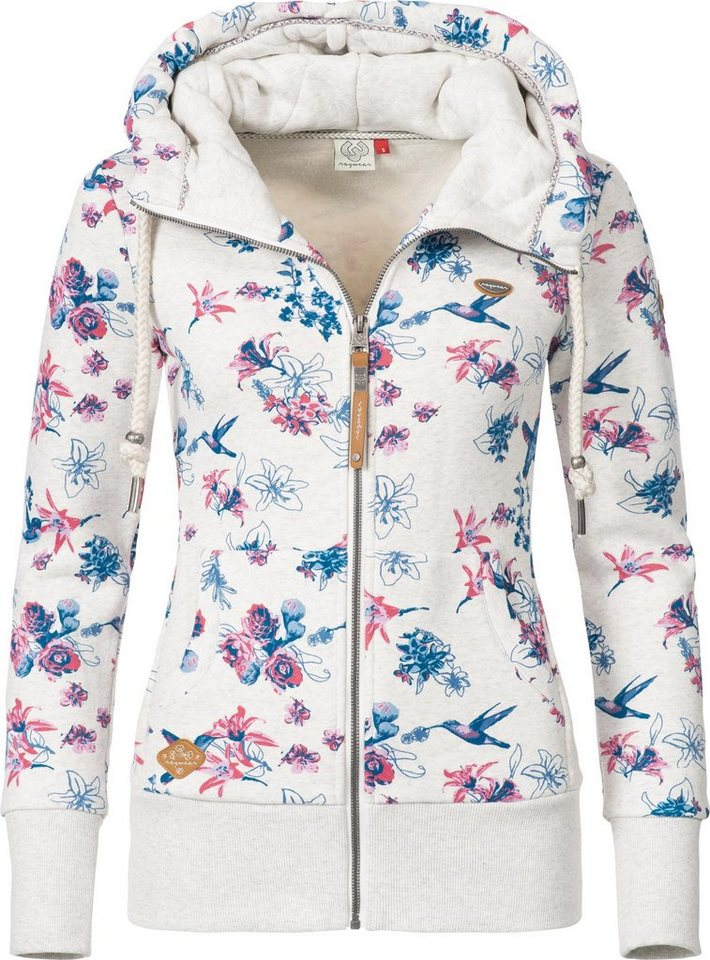 1604c0cfd9fe Ragwear Sweatjacke »Neska Zip Flowers« sportlicher Damen Zip-Hoodie mit  Kapuze