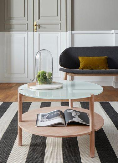 andas Couchtisch »Niss«, aus massivem Eschenholz und einer Milchglastischplatte in moderner Optik, Design by Morten Georgsen