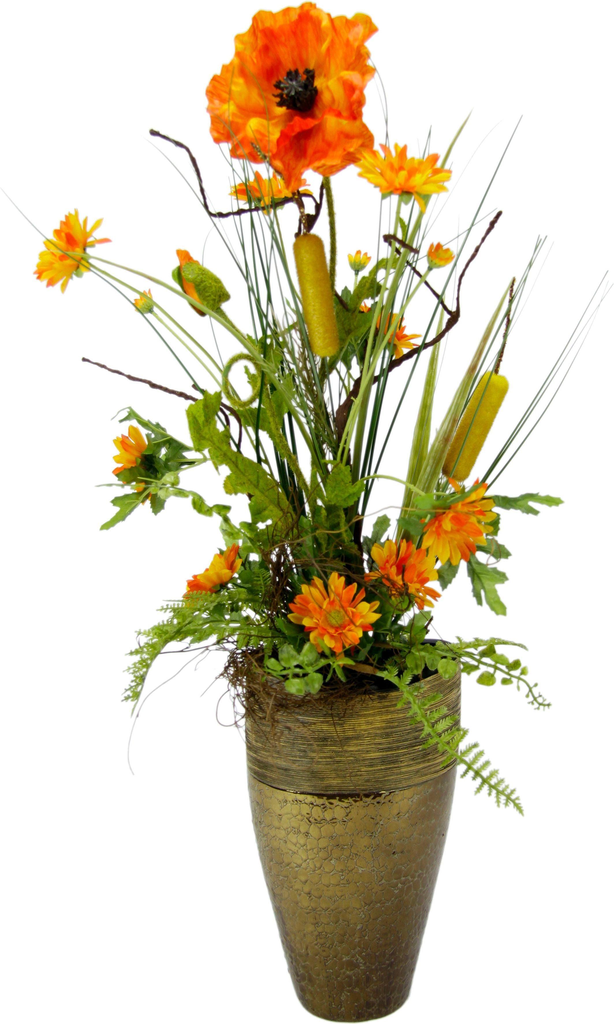 Kunstblume Gesteck Mohn/Rohrkolben in Vase