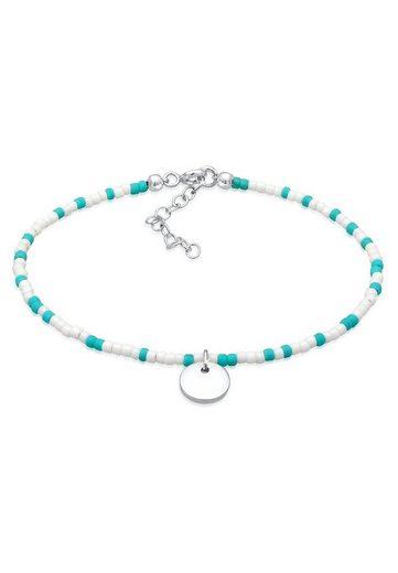 Elli Armband »Plättchen Anhänger Beads Kugeln Bunt 925 Silber«