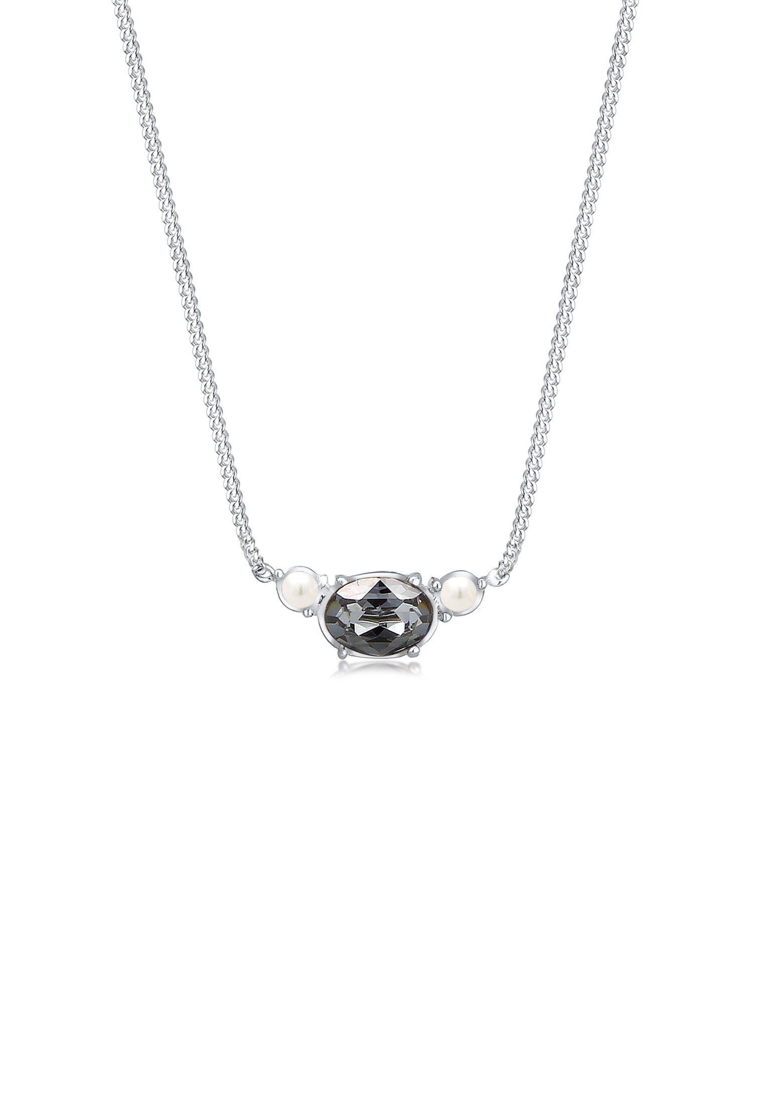 Elli Collierkettchen »Panzerkette Perle Swarovski® Kristalle 925 Silber«