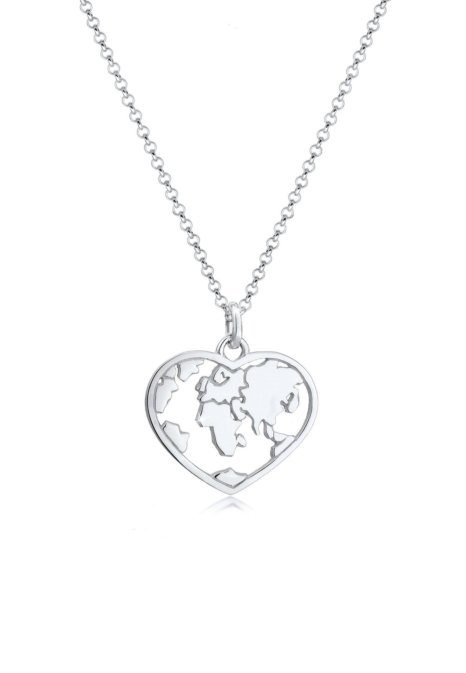 Elli Collierkettchen »Herz Weltkugel Globus Erbskette Trend 925 Silber«