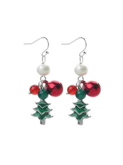 Adelia´s Paar Ohrhänger »Christmass Weihnachtsschmuck« Tannenbaum mit Glöckchen und grünem Achat