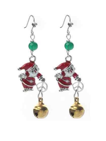 Adelia´s Paar Ohrhänger »Christmass Weihnachtsschmuck« Weihnachtsmann mit Glöckchen und grünem Achat