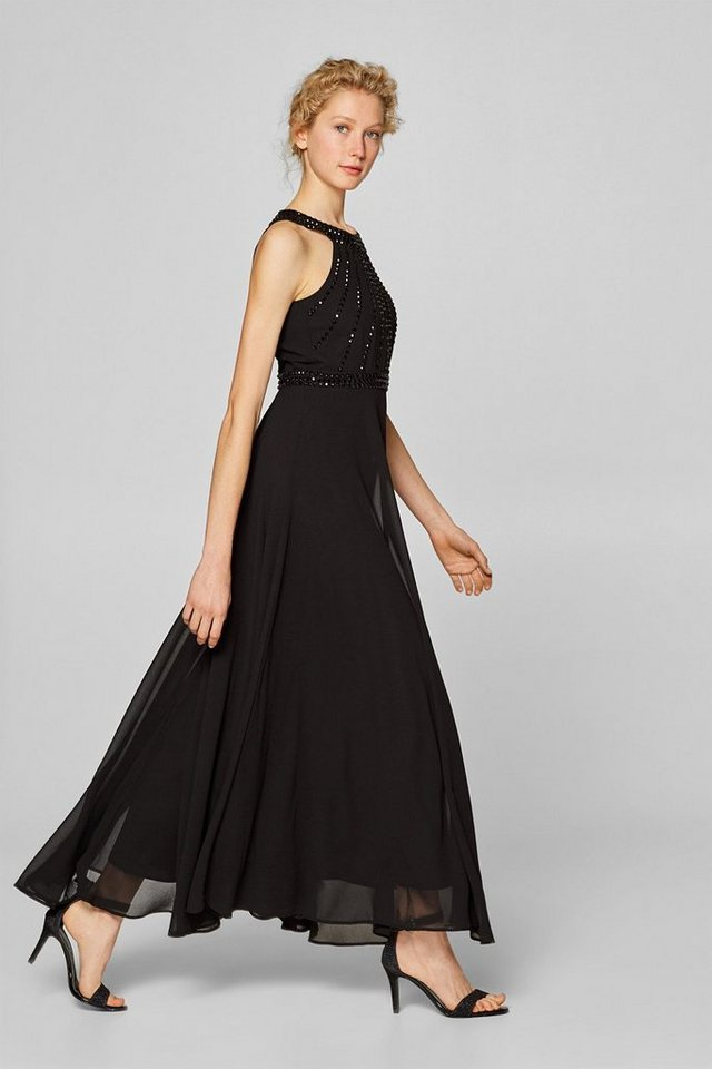 Esprit Collection Maxikleid aus Chiffon mit Strass-Dekor