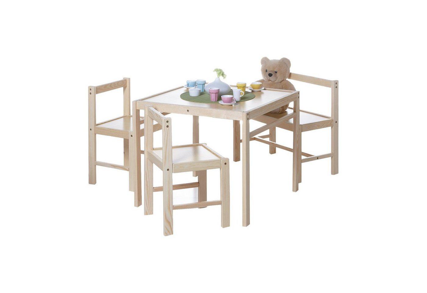 Sitzmöbel - Ticaa Kindersitzgruppe Kindertisch 4 teilig Kiefer massiv  - Onlineshop OTTO
