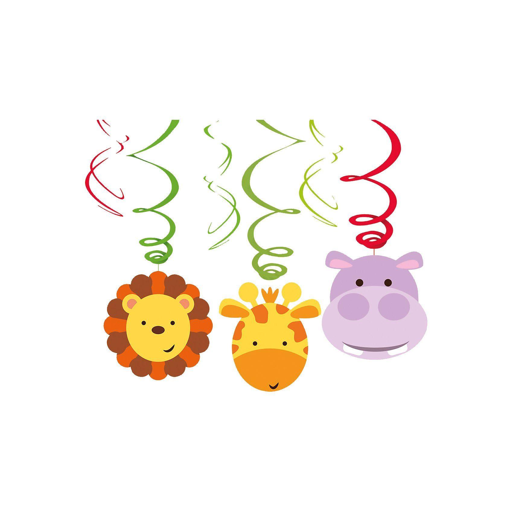 Amscan Dekospiralen Dschungel Tiere, 6 Stück