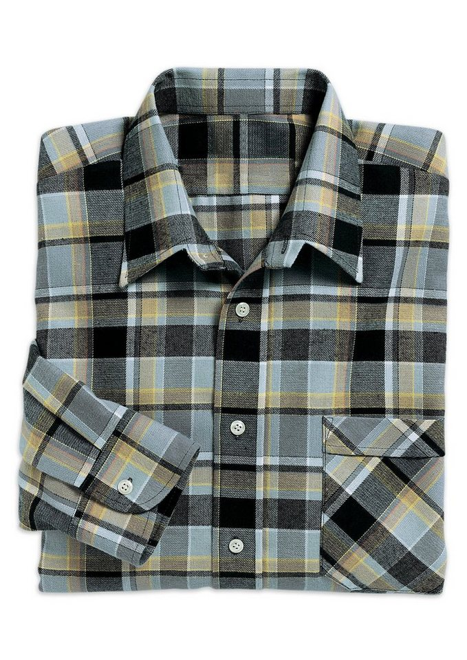 Classic Langarm-Hemd aus reiner Baumwolle in grau-kariert