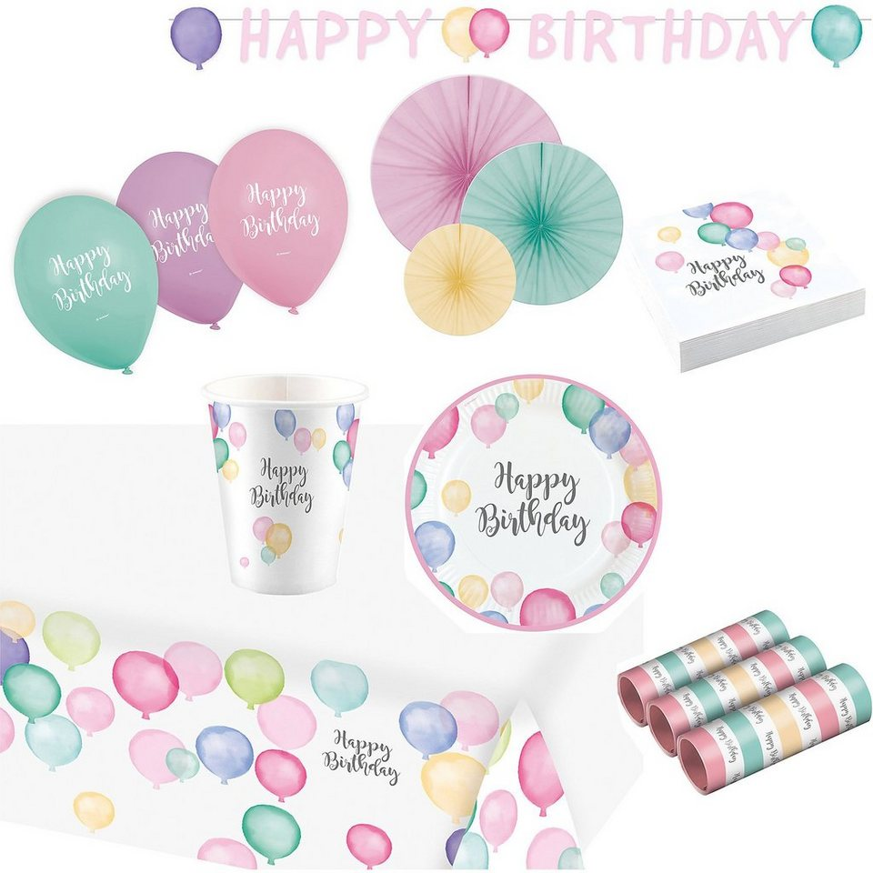 Amscan Partyset Happy Birthday Pastel, 50-tlg.