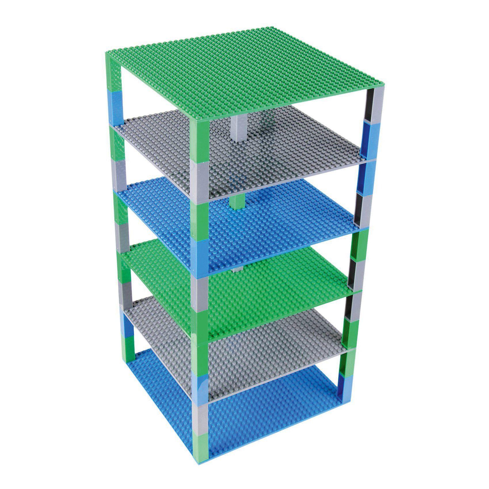 BRIK Tower 6 Floors 32x32 Studs Blau, Grün, Dunkel Grau mit