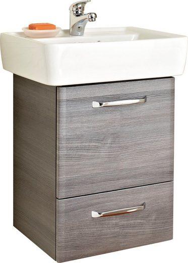 PELIPAL Waschtisch »Alika«, Breite 55 cm, Keramikbecken, Metallgriffe, Türdämpfer