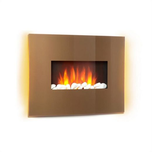 Klarstein Elektrokamin »Curved Copper L&F 1000/2000W Curved Glass Panel Fernbedienung Kupfer«