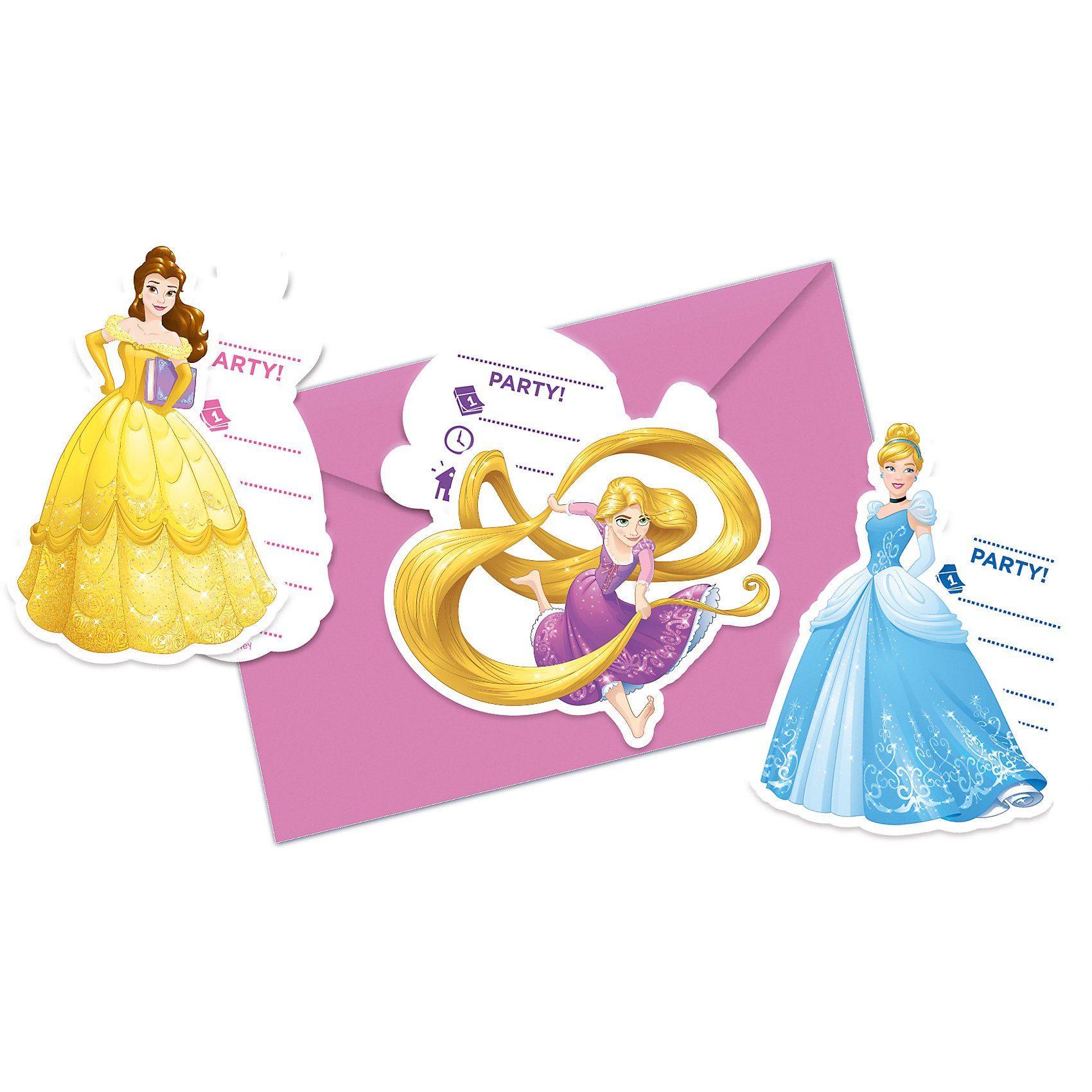 Procos Einladungskarten Disney Princess Heartstrong, 6 Stück inkl.