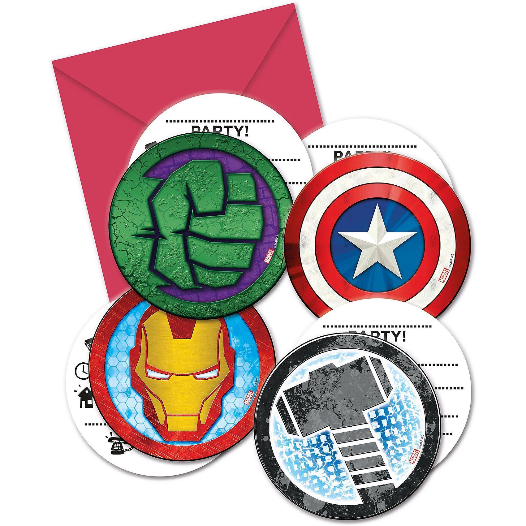 Procos Einladungskarten Avengers, 6 Stück inkl. Umschläge