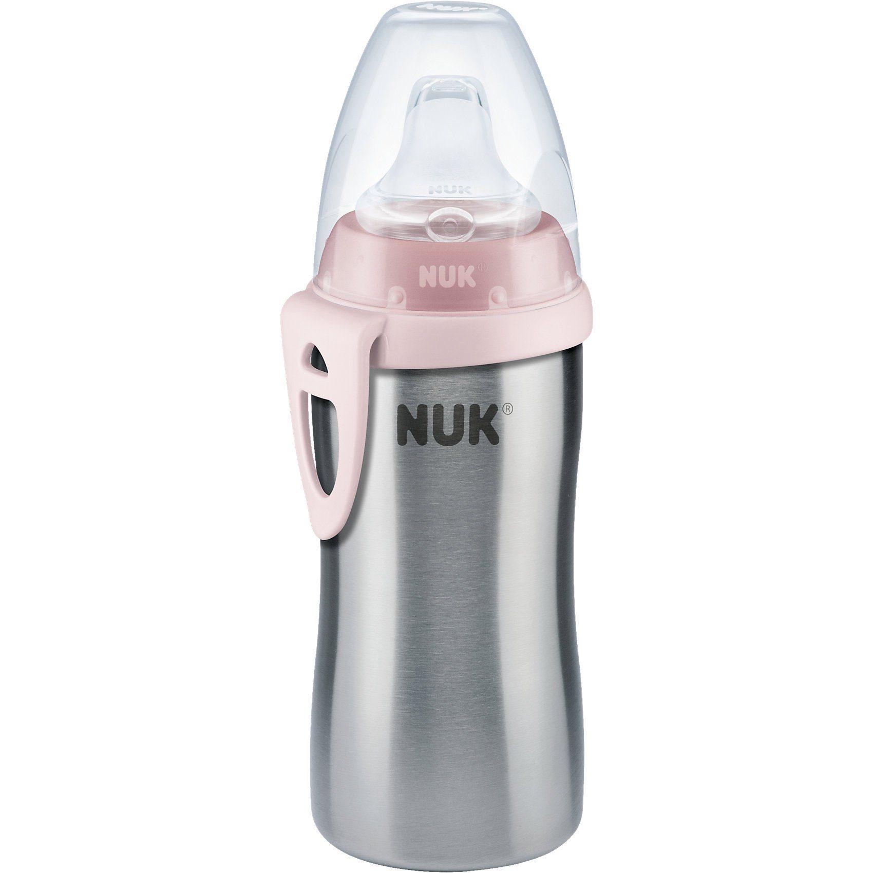 NUK Trinkflasche Active Cup, Edelstahl, rosa