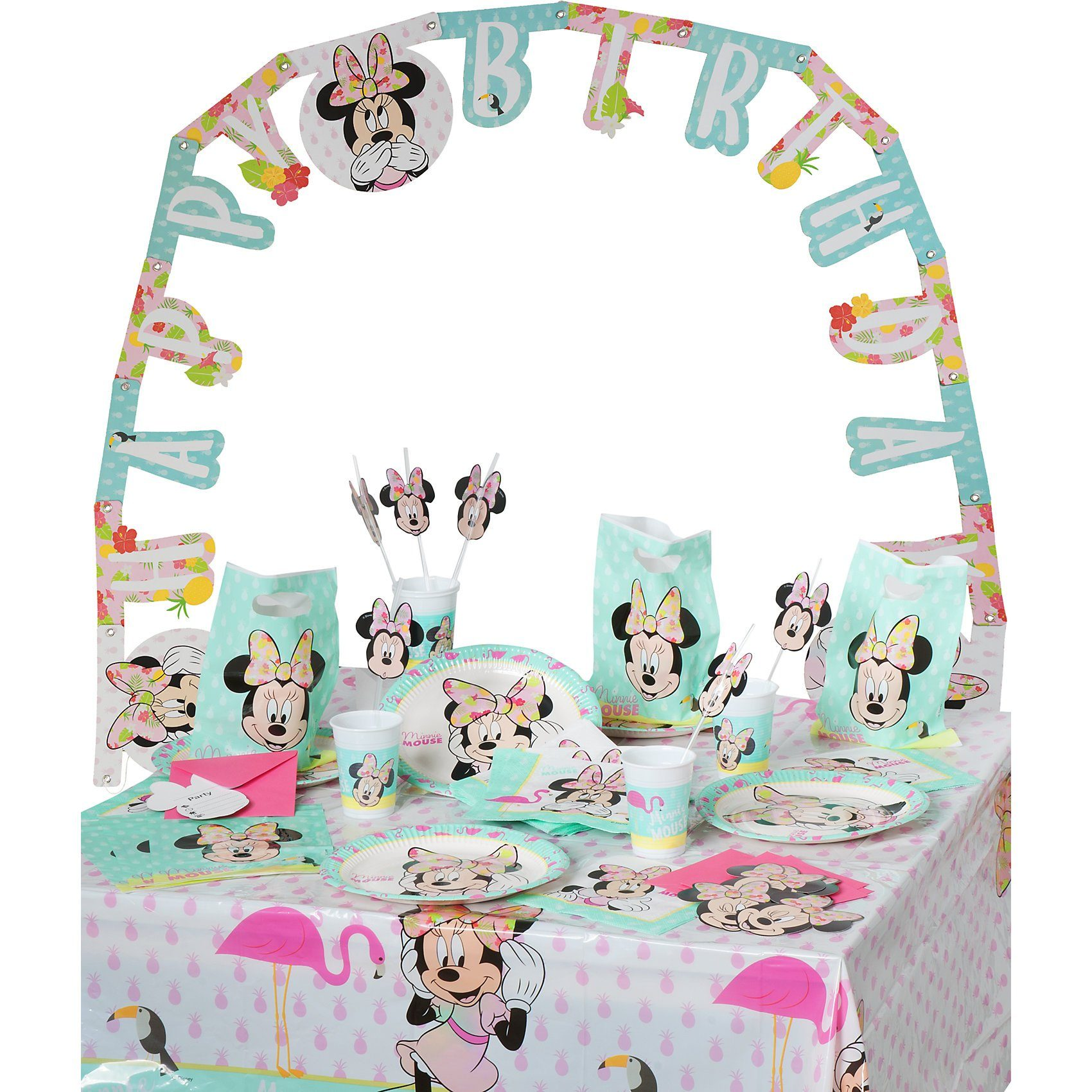 Procos Partyset Minnie Mouse Tropical, 56-tlg.