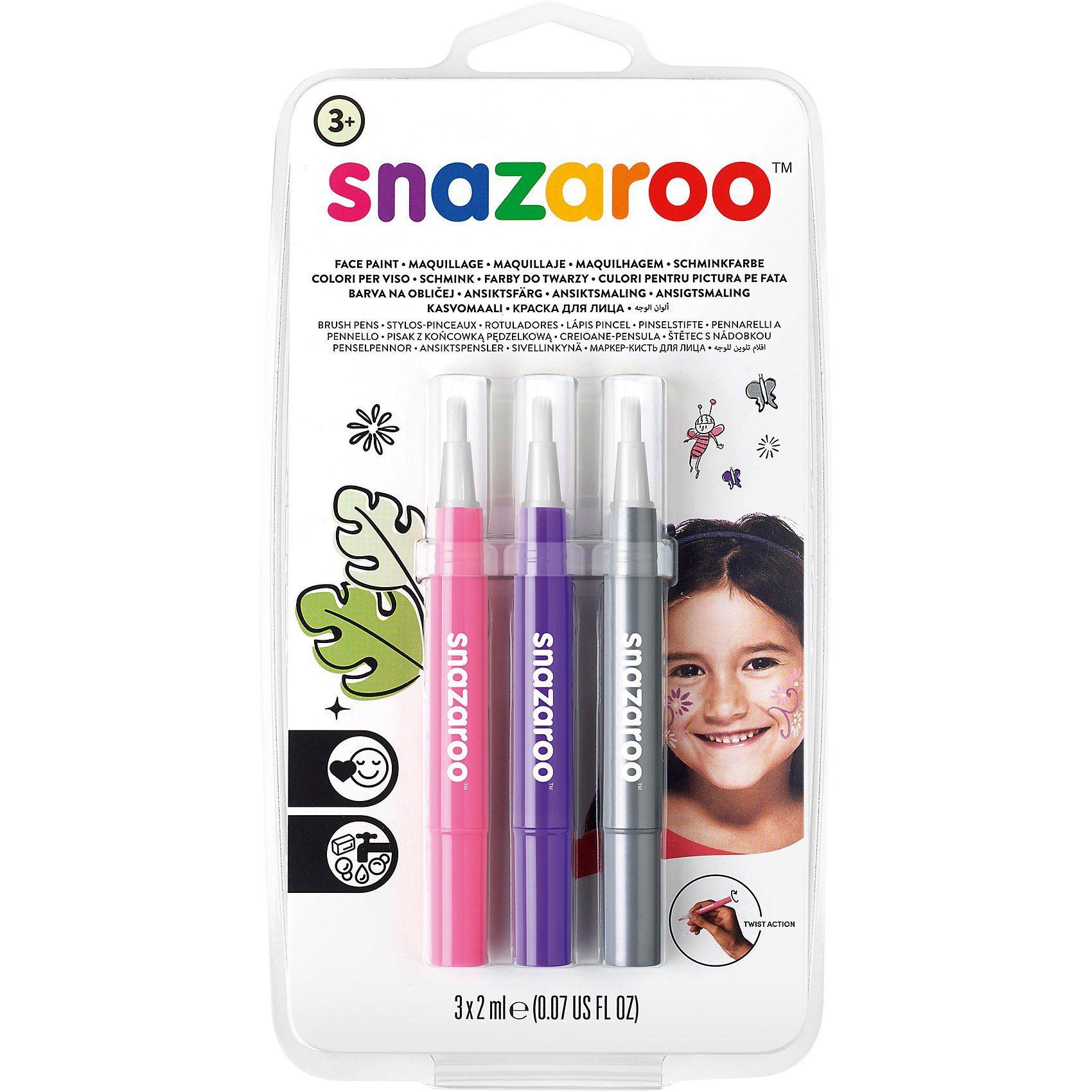 Snazaroo Pinsel Schminkstift-Set Fantasie, 3 Stück