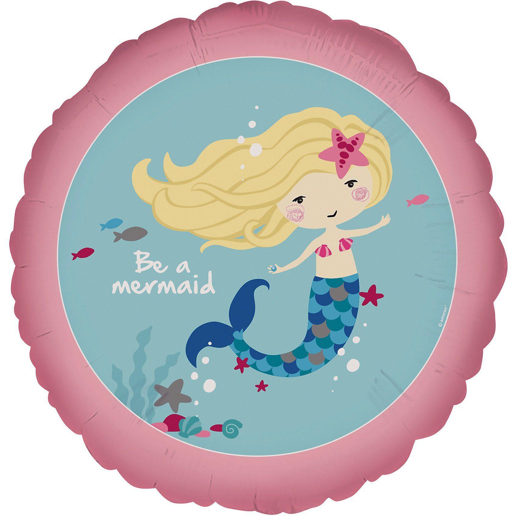 Amscan Folienballon Meerjungfrau Be a Mermaid, rund