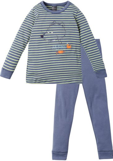 Schiesser Jungen Pyjama lang mit Bündchen Ringel blau - Rat Henry - 163414-200 Kn Anzug lang