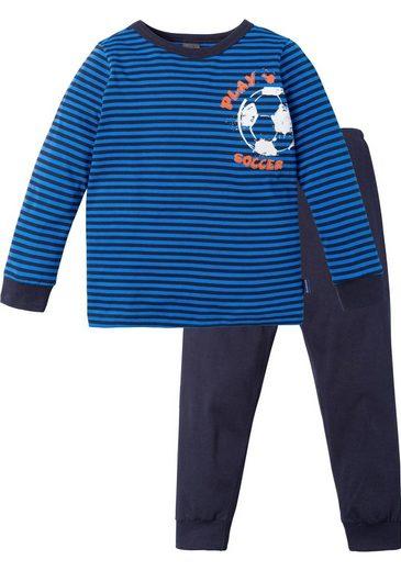 Schiesser Pyjama in langer Form mit Fußball Print