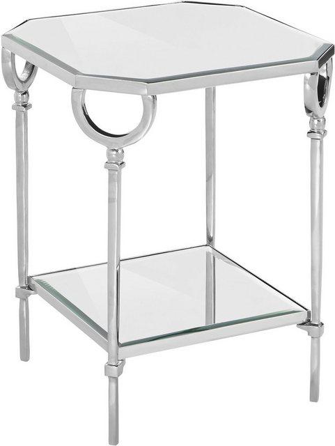 Wohnzimmertische - Leonique Beistelltisch »Beaune«, mit Spiegelglasplatte und einem Aluminium Eisen Gestell  - Onlineshop OTTO