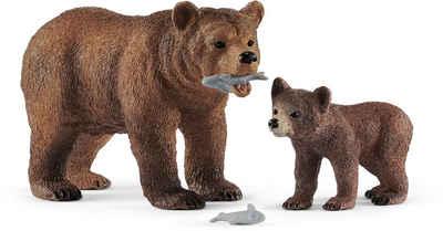Schleich® Spielfigur »Wild Life, Grizzlybär-Mutter mit Jungem (42473)«