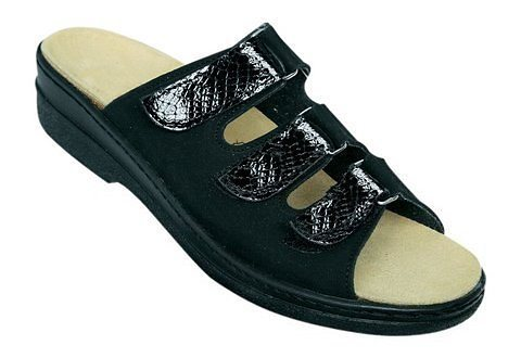 Pantolette mit Wörishofer Fußbett in schwarz