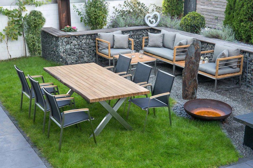 Bellasole Gartenmöbelset 7 Tlg 6 Stühle Tisch 200x100 Cm