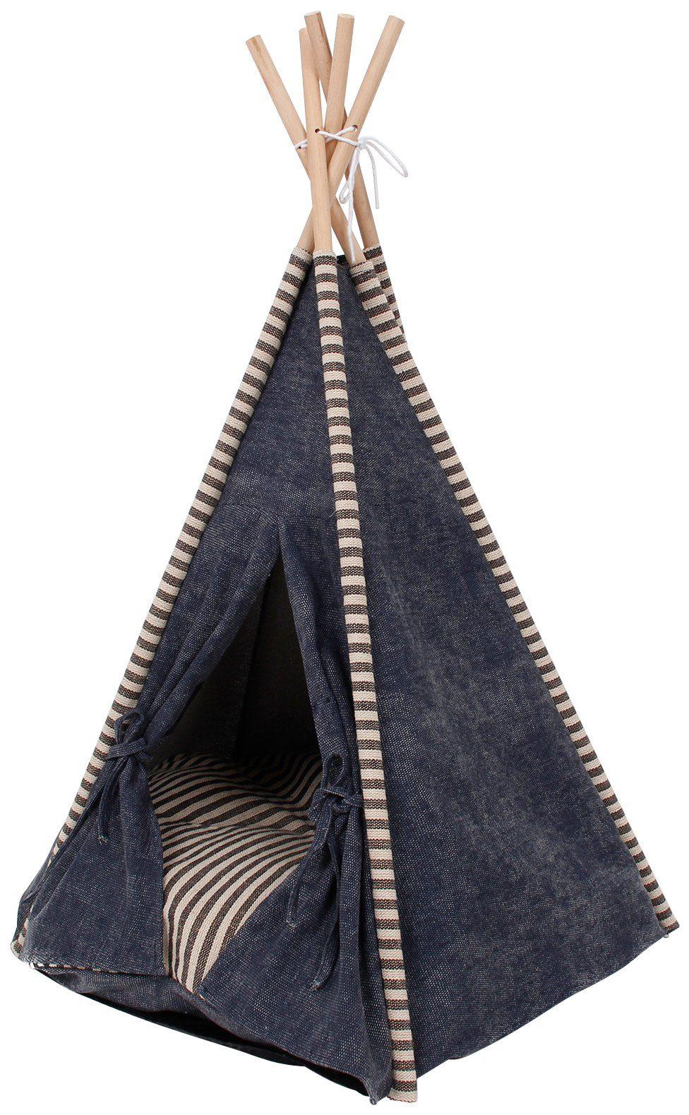 HEIM Hundehöhle und Katzenhöhle »Tipi-Zelt Jeanstrend«, BxLxH: 68x68x80 cm