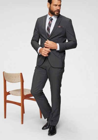 Mans World Anzug 4 Tlg Mit Krawatte Und Einstecktuch Knitterarm Formbeständig