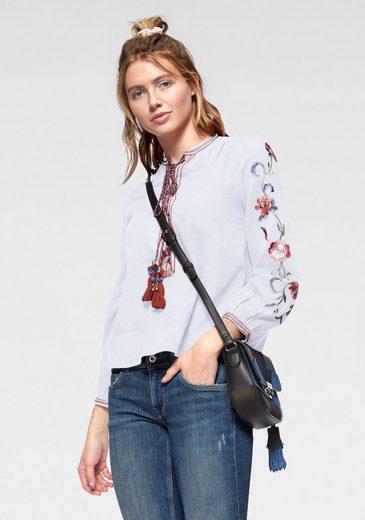 Pepe Jeans Schlupfbluse »MIE« mit Schnürung & Blumenstickerei