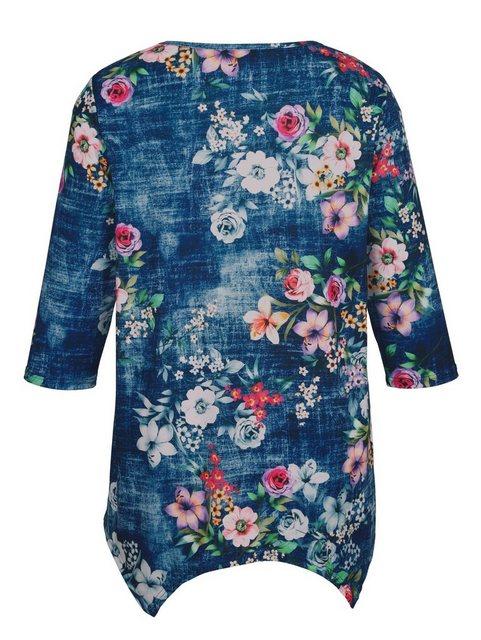 m. collection Zipfelshirt rundum mit Blumenmuster | Bekleidung > Shirts > Zipfelshirts | m. collection