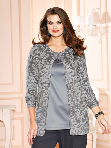 m. collection Strickjacke rundum mit Druckmuster