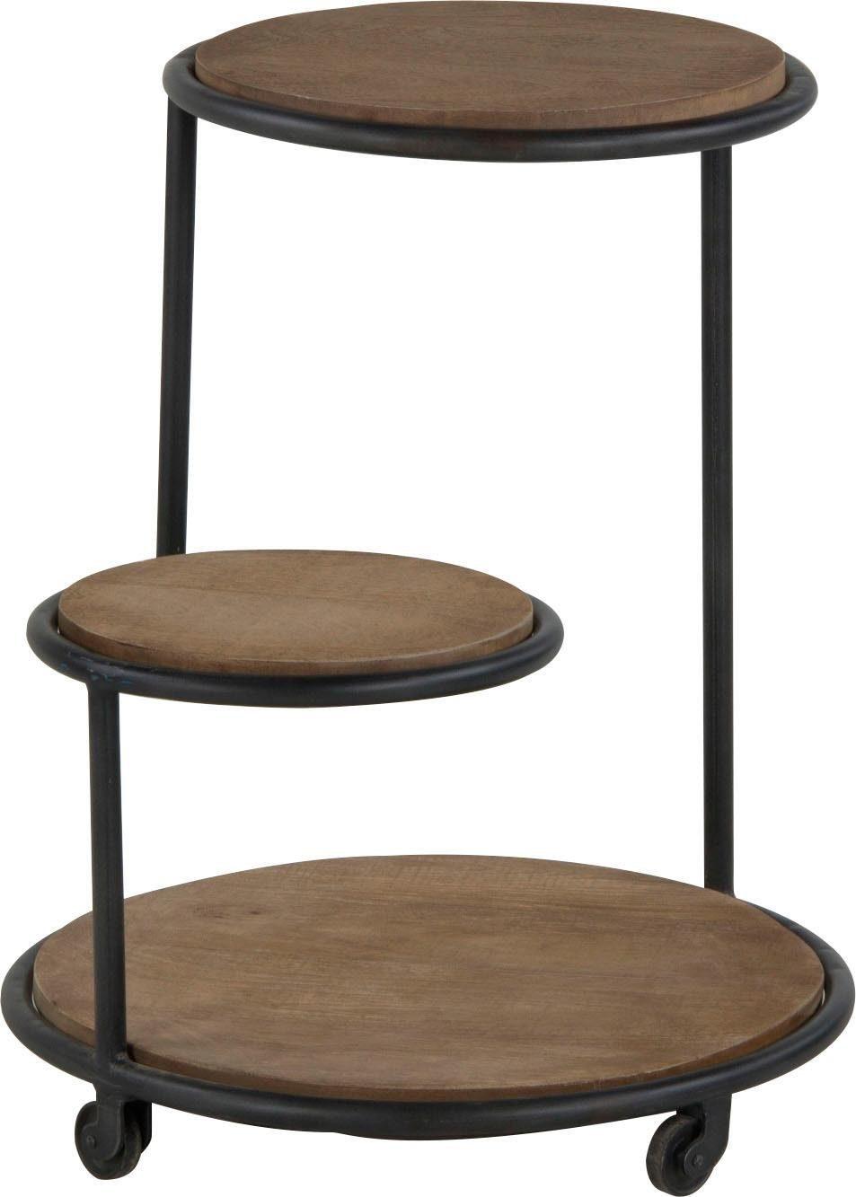 Home affaire Beistelltisch »Zabel« aus massivem Mangoholz mit Metallgestell und Rollen, Breite 50 cm