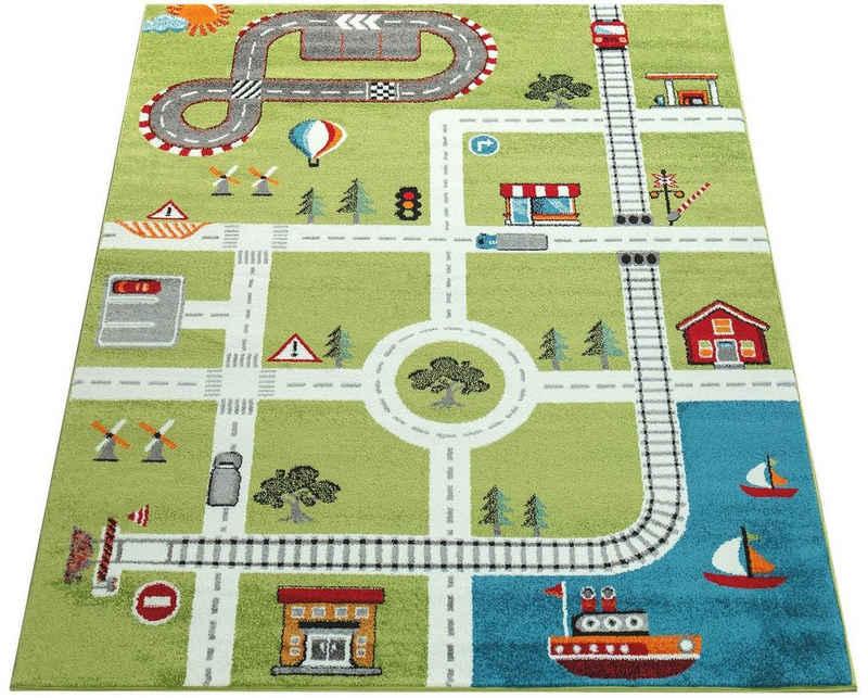 Kinderteppich »ECE Straße 994«, Paco Home, rechteckig, Höhe 14 mm, Kurzflor, Straßen-Spielteppich, Kinderzimmer