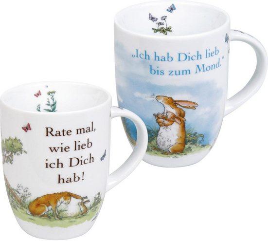Könitz Becher »Ich hab dich lieb« (2-tlg), Porzellan, 380 ml