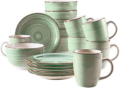 Home affaire Kaffeeservice »Bel Tempo« (18-tlg), Keramik, mit Spiraldekor