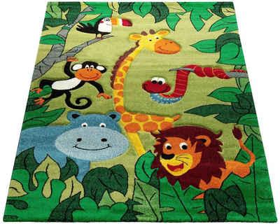 Kinderteppich »Diamond 638«, Paco Home, rechteckig, Höhe 18 mm, Kurzflor, 3D-Design Dschungel Tiere, Kinderzimmer