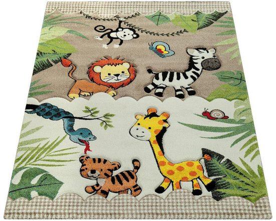 Kinderteppich »Diamond 644«, Paco Home, rechteckig, Höhe 18 mm, Kurzflor, 3D-Design Dschungel Tiere